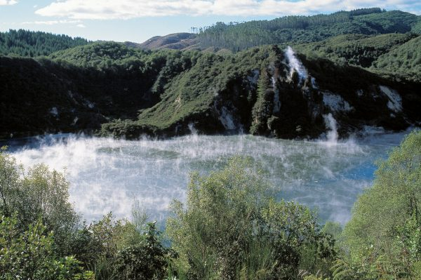 Frying Pan Lake, at Waimangu Valley, is the world's largest hot spring. Its average temperature of 55°C suggests that there is still plenty of volcanic potential in the ground around Lake Rotomahana.