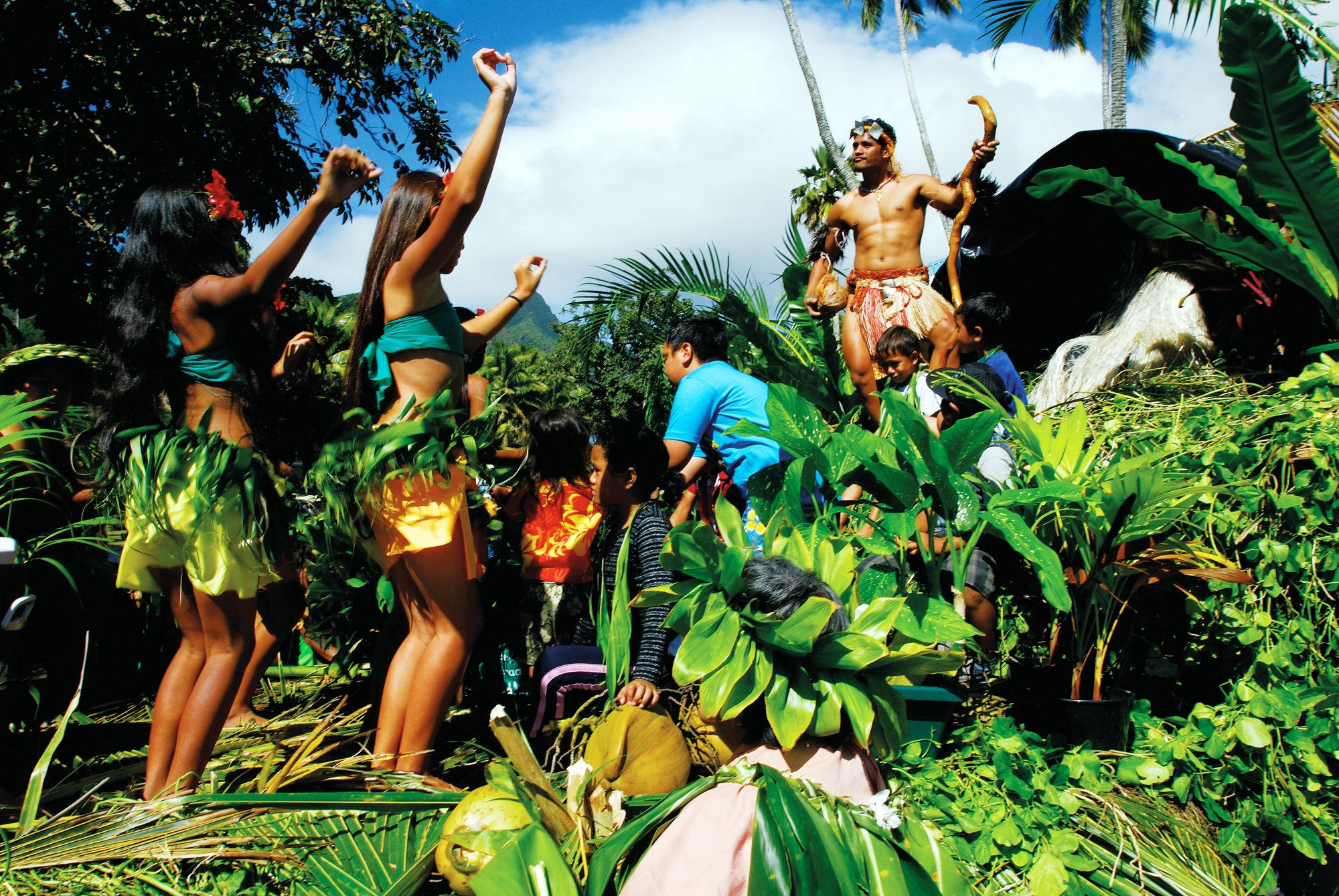 Peu tupuna, ancestral stories and legends , abound during the 2008 Te Maeva Nui festival float parade in Avarua. Many re-enactments explore the origins of the people of each island. Maui, the mischievous demi-god, is also a popular subject of many peu tupuna. The carnival commemorates the Cook Islands attaining self governance in 1965, while maintaining its free association with New Zealand.
