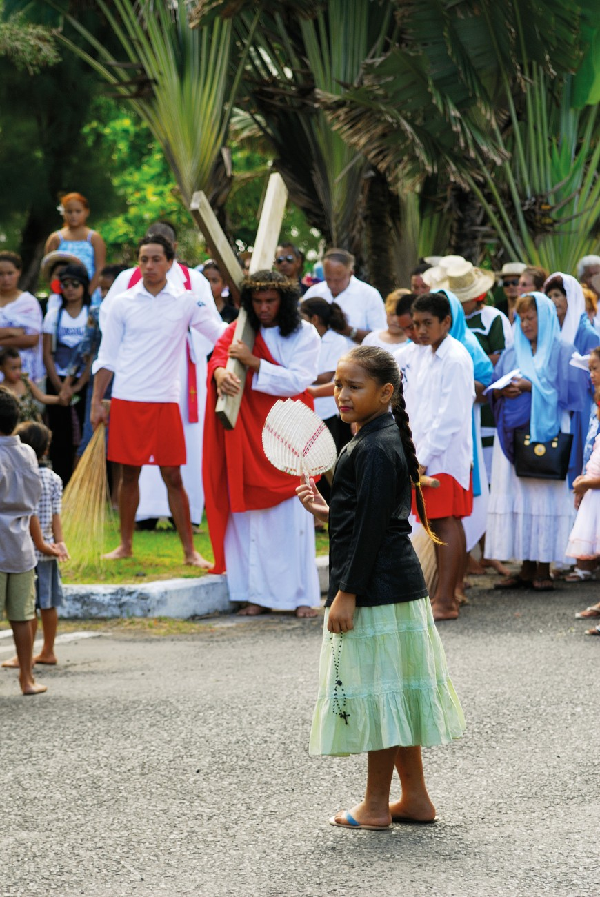 The Catholic Church was a late arrival to the Cook Islands, establishing its presence on Rarotonga in the 1890s. These days, around 16 per cent of the population make up the diocese. On Good Friday, Catholics recall the Stations of the Cross—the last hours of Jesus—with a graphic re-enactment progressing the length of the Ara Maire Nui main road from the steps of the courthouse to St Joseph's cathedral, where a mock crucifixion takes place