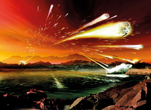 Sometime between 4.1 and 3.8 billion years ago, the early terrestrial planets of the inner solar system—Mercury, Venus, Earth and Mars—were pounded with a disproportionally large number of asteroids. Early life on Earth would have had to survive this 'Late Heavy Bombardment', or, as some scientists argue, life here may have started with the bombardment, the asteroids carrying cargos of biological entities.