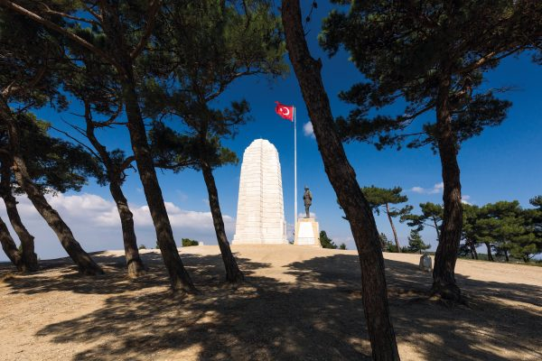 Once on Chunuk Bair: The New Zealand Memorial and the statue of Kemal Atatürk with the Turkish flag stand atop the ridge that was fought for and briefly held by the Wellington Battalion led by William Malone, who died in the action. It was Atatürk himself who led the successful Turkish counter-attack.