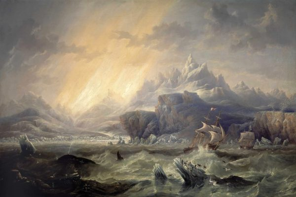 "John Wilson Carmichael's 1847 painting ""HMS Erebus and Terror in the Antarctic"" captures all the danger, drama and otherworldliness of Ross's adventure – although, according to the British National Maritime Museum which holds the painting, the ships shown do not much resemble the actual vessels of the Ross expedition. The HMS Erebus and the HMS Terror later sailed into infamy when they disappeared without a trace in the Arctic five years later, during Sir John Franklin's ill-fated hunt for the Northwest Passage in 1845–6—the MH 370 of its day. In 2014, the wreck of the HMS Erebus was discovered off Canada's King William Island."