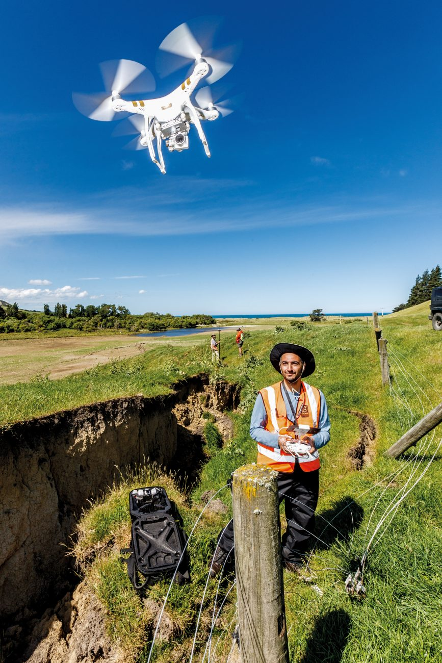 New technology is making this New Zealand's most scrutinised earthquake. Greek technician John Manousakis pilots a drone over the Kekerengu Fault as it zig-zags towards the coast.