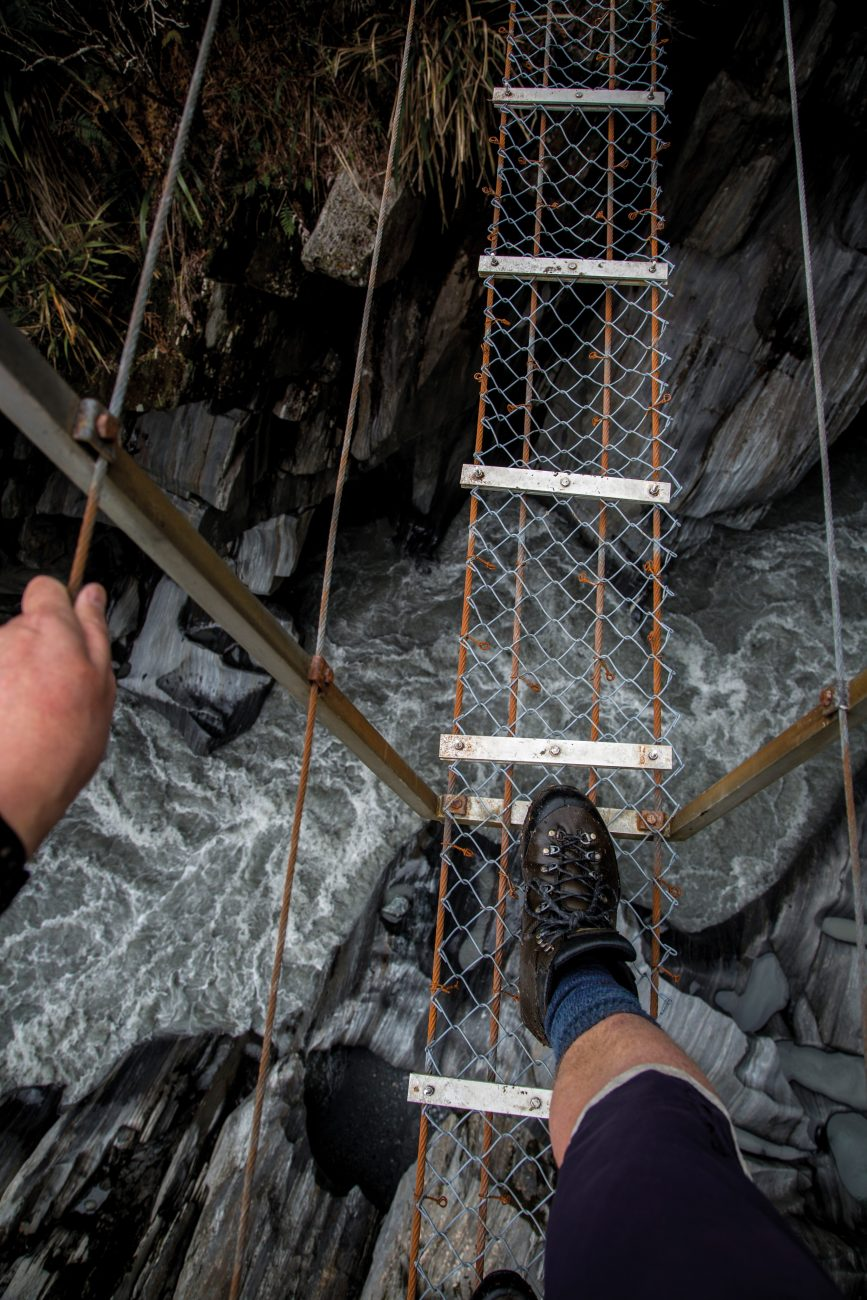 Steady feet, a good grip and calm nerves are needed when crossing the swingbridge at the entrance to Morgan Gorge, which stretches high above the fast-flowing torrent.