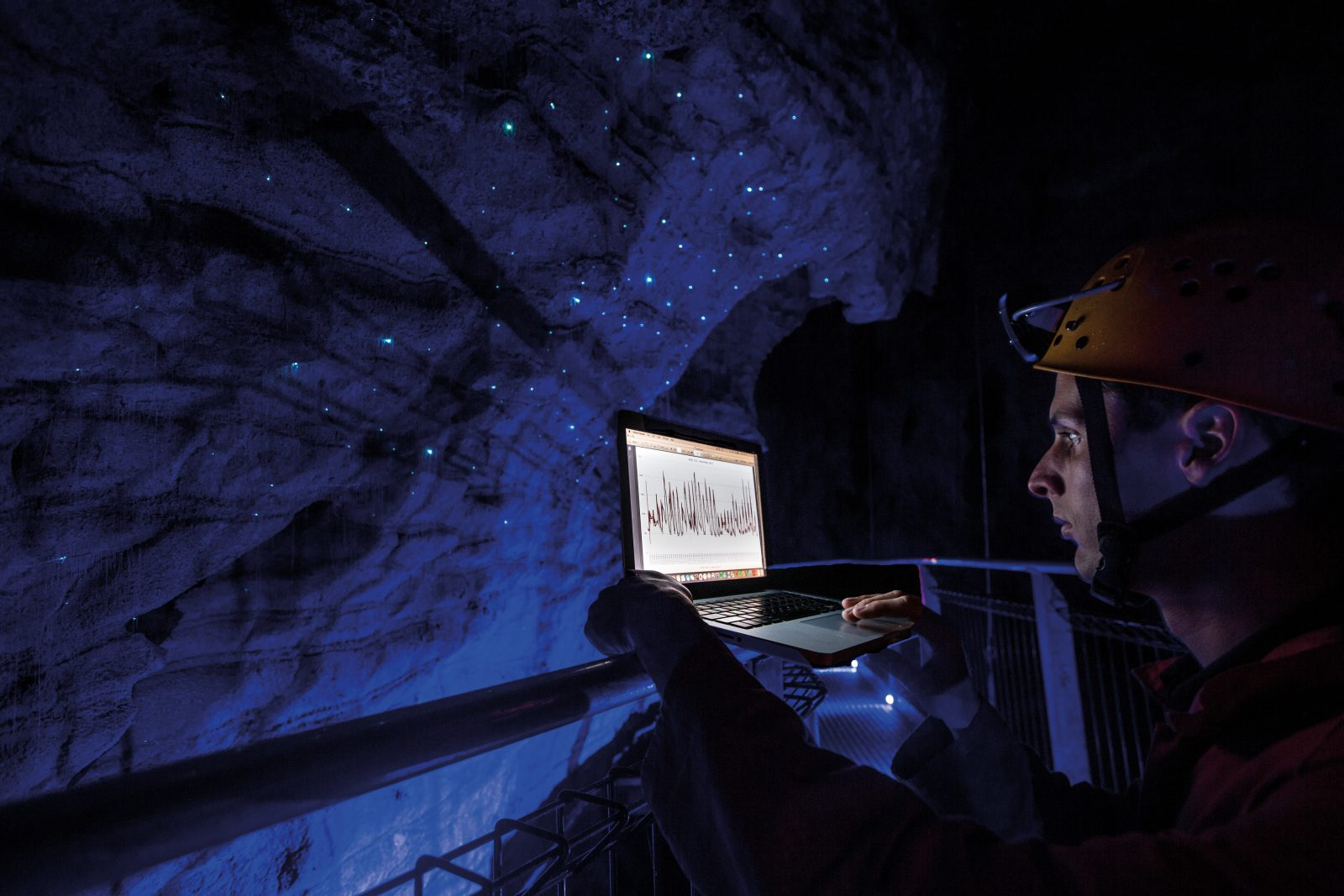 THL environment officer Carl Fischer, below, tracks carbon dioxide levels daily in Ruakuri and the Waitomo Glowworm Cave. If levels get too high, the cave formations could begin to corrode, and Fischer puts a halt on tours. Humidity, water levels and glowworm numbers are also monitored.